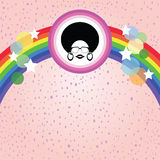 Afro lady and rainbow. With colorful retro concept Royalty Free Stock Photography