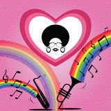 Afro lady with saxophone and trumpet royalty free illustration