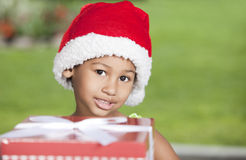 Afro little girl with present Stock Images