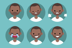 Afro mężczyzna profilu amerykański pics, set płascy portrety/ Obraz Stock