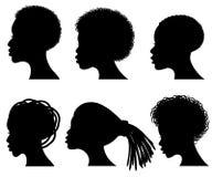 Afro młodej kobiety amerykańskiej twarzy wektorowe czarne sylwetki ilustracji
