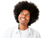 Afro man daydreaming Royalty Free Stock Photos