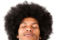 Afro man with eyes closed Stock Photo