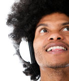 Afro man with headphones Royalty Free Stock Photos