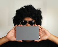 Afro Man Holding Blank Card Royalty Free Stock Photos