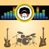 Afro man listen music. Vector Stock Photography