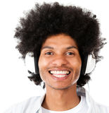 Afro man listening to music Stock Photo