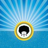 Afro- man på retro begrepp Arkivfoto