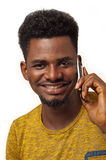 Afro man on phone. African American cute man talking on phone Royalty Free Stock Images