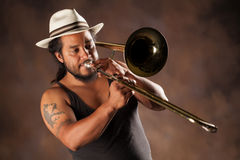 Afro Man Playing Trombone Stock Images