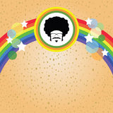 Afro man and rainbow. On colorful retro concept Stock Photography