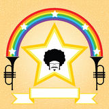 Afro man with rainbow and trumpet Royalty Free Stock Image