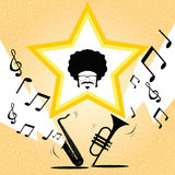 Afro man with saxophone and trumpet. Music vector Stock Image