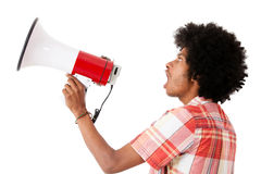 Afro man screaming with a megaphone Stock Photography