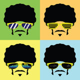Afro man with several design glasses Royalty Free Stock Photography