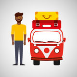 Afro man vintage van camper suitcases Stock Photography