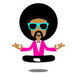 Afro Meditation. Happy afro man Meditation in pink suit Royalty Free Stock Photography