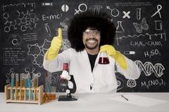 Afro naukowiec pokazuje OK znaka Fotografia Royalty Free