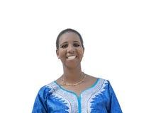 Afro piękno jest ubranym tradycyjną suknię, odosobnioną Zdjęcia Stock