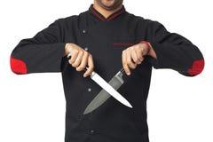 Afro profesjonalisty kucharza mienia Amerykańscy knifes - odosobneni Zdjęcia Royalty Free