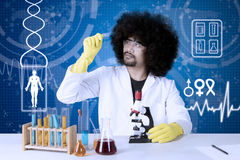 Afro researcher examining microscope slide. Afro researcher examining a microscope slide with chemical fluid on the table. Shot with virtual screen background Royalty Free Stock Photo