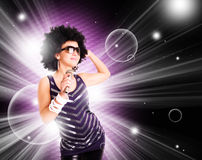 Afro singer holding microphone. Giving concert Stock Photos