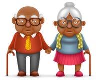 Afro uśmiechu starszych osob pary starego człowieka miłości Amerykańskiej Ślicznej Szczęśliwej kobiety babci 3d kreskówki Dziadek Zdjęcie Royalty Free