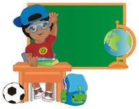 Afro uczeń przy szkołą ilustracja wektor