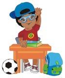 Afro uczeń przy biurkiem ilustracji