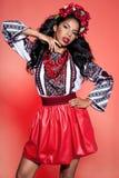 Afro Ukraińska dziewczyna w broderii Fotografia Stock