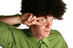 Afro Wig. On thirty something white male stock image