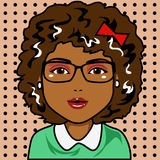 Afro Woman in Cartoon Character. Character with afro hair and black skin. Draw in cartoon and retro comic style royalty free illustration