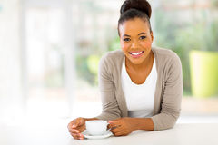 Afro woman coffee Royalty Free Stock Photography