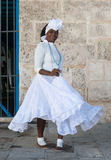 Afro woman dressed with typical clothes in Havana Stock Images