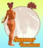 Afro woman naked. Vector design template. Stock Photos