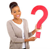 Afro woman question mark Royalty Free Stock Photo