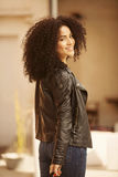 Afro young woman with bags Stock Photos