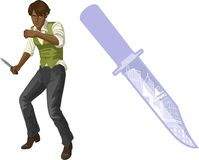 Afroamerican brawling man cartoon character Stock Photo