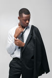 Afroamerican fashion model man in fancy suit royalty free stock photography