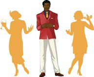 Afroamerican male party host with female guests Royalty Free Stock Images