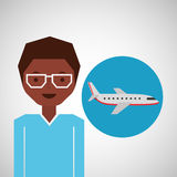 Afroamerican man traveler airplane Stock Images