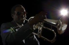 Afroamerican muzyk jazzowy z Flugelhorn Obraz Royalty Free