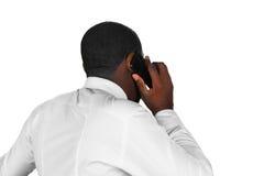 Afroamerican odpowiadanie telefon komórkowy Obrazy Royalty Free
