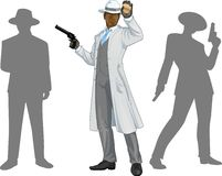 Afroamerican police chief and people silhouettes Royalty Free Stock Image