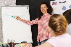 Afroamerican teacher in school Royalty Free Stock Photography
