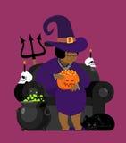 Afroamericano della strega con il gatto nero Carattere di Halloween Skul Fotografia Stock Libera da Diritti