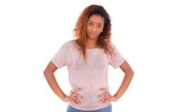 Afroamericano joven infeliz aislado en el fondo blanco - Bl Fotografía de archivo libre de regalías