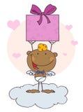 Afroamerikaner-Amor mit Geschenk Lizenzfreies Stockbild