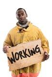 Afroamerikaner-Feuerwehrmann Holding ein Pappzeichen mit dem w Lizenzfreie Stockfotografie