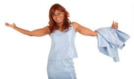Afroamerikaner-Frau überglücklich über etwas Lizenzfreies Stockfoto